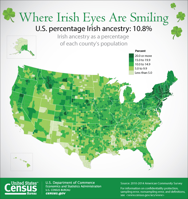 U.S. Irish ancestry map